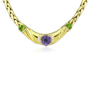 image of H. Stern 18K Yellow Gold Amethyst Peridot Diamond Necklace