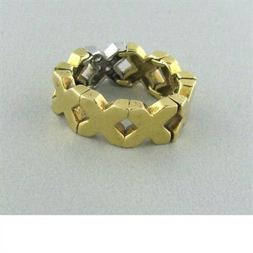thumbnail image of Estate Tiffany & Co 18k Yellow Gold Diamond X Ring