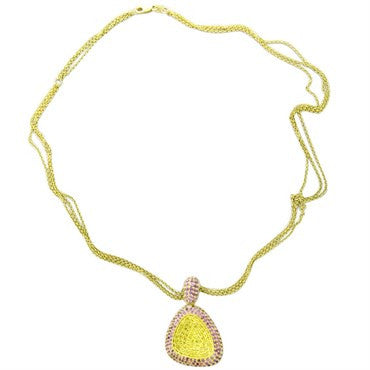 thumbnail image of New Roberto Coin Capriplus 18k Gold Yellow Pink Sapphire Necklace