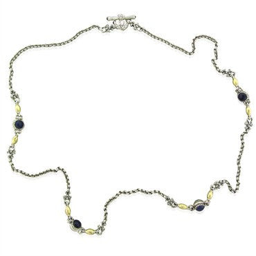 image of Konstantino Sterling Silver 18K Gold Pink Tourmaline Iolite Necklace