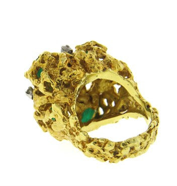 thumbnail image of 1970s Emerald Diamond 18k Gold Free Form Ring
