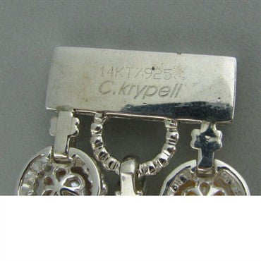 thumbnail image of New Krypell Sterling 14k Gold Pearl Link Bracelet