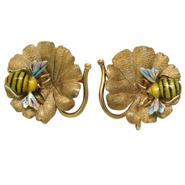 image of Antique Victorian Enamel Gold Bee Earrings