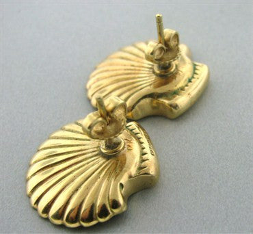 thumbnail image of Vintage Tiffany & Co 14k Yellow Gold Seashell Earrings