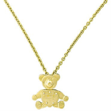 image of New Pomellato Orsetto 18k Gold Movable Bear Pendant Necklace