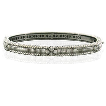 image of Judith Ripka Romance 18k White Gold Diamond Bangle Bracelet