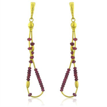image of New Gurhan 24K Gold Ruby Bead Drop Earrings