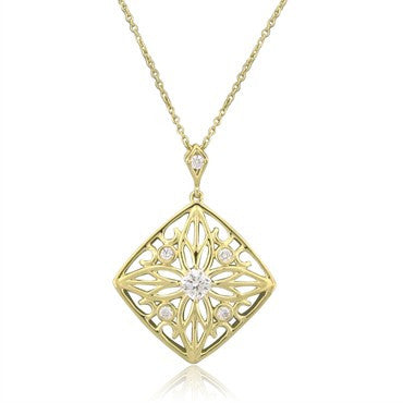 image of New Hearts On Fire Potpourri Square Open Back Diamond Pendant Necklace