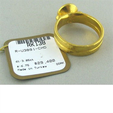 thumbnail image of New Gurhan 24k Gold 3.05ct Cognac Diamond Ring