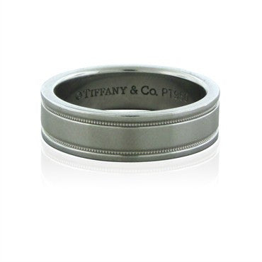 image of Tiffany & Co Double Milgrain 6mm Platinum Band Ring