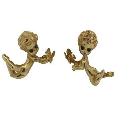 thumbnail image of Retro Whimsical Sapphire 14k Gold Cherub Earrings