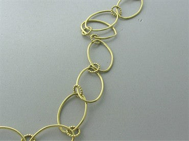 thumbnail image of Slane & Slane 18K Yellow Gold Skinny Oval Link Beaded Necklace