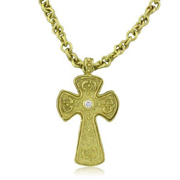 image of Estate Katy Briscoe 18K Yellow Gold Diamond Cross Pendant Necklace