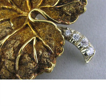 thumbnail image of Vintage Tiffany & Co 18k Gold Diamond Leaf Brooch Pin