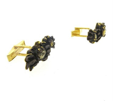 thumbnail image of Gumps 18K Gold Shakudo Crab Motif Cufflinks