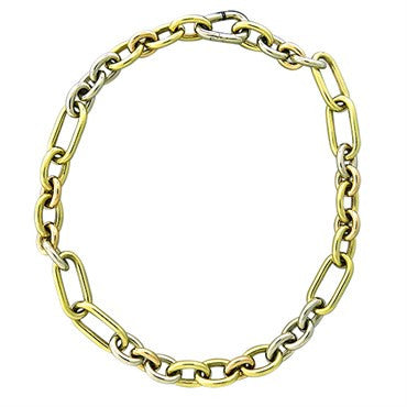 thumbnail image of New Pomellato 18k Gold Tri Color Large Link Necklace Chain 146g