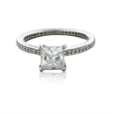 image of NEWNew Ritani Platinum Diamond Engagement Ring Setting For 1.00ct