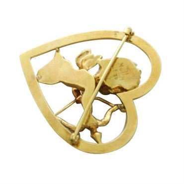 thumbnail image of Ruser 14K Gold Sapphire Cupid Heart Brooch