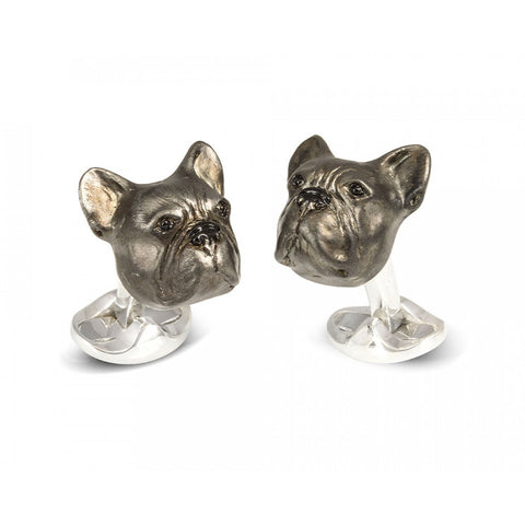 image of Deakin & Francis French Bulldog Sterling Silver Cufflinks