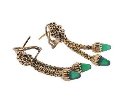 image of Mid Century Green Agate Gold Dangle Earrings