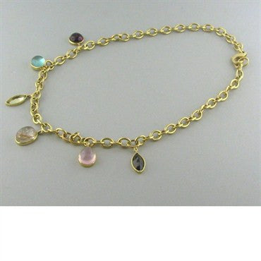 thumbnail image of New Faraone Mennella 18k Gold Multi Gemstone Necklace