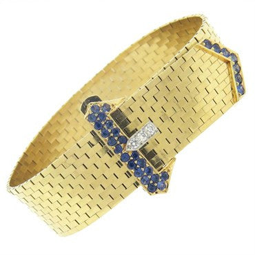 image of Retro Tiffany & Co Sapphire Diamond 14k Gold Buckle Bracelet