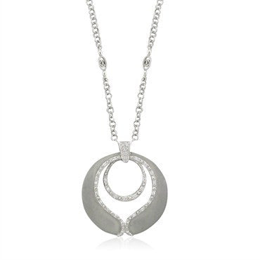 thumbnail image of Charriol 18K White Gold Diamond Pendant Necklace