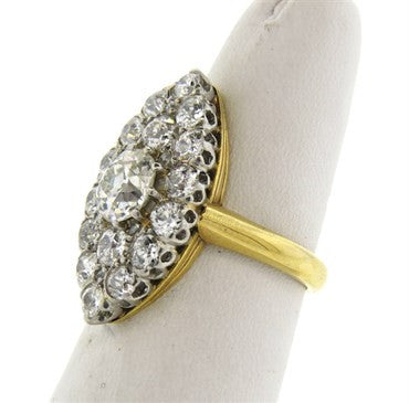thumbnail image of Antique Victorian 3.00ctw Diamond Navette Gold Cocktail Ring