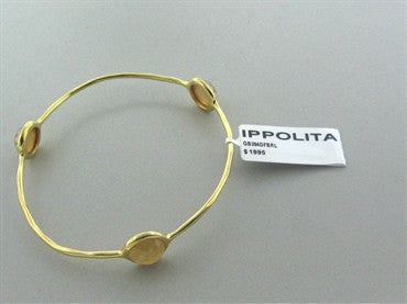 image of New Ippolita 18K Gold Rock Candy Three Stone Shell Doublet Bracelet