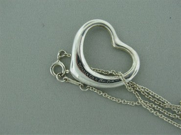 thumbnail image of Estate Tiffany & Co Peretti Sterling Open Heart Pendant Chain Necklace