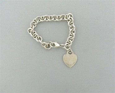 image of Estate Tiffany & Co Sterling Silver Heart Chain Link Bracelet