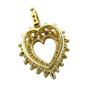 thumbnail image of Estate 14K Yellow Gold 2.00ctw Diamond Heart Charm Pendant