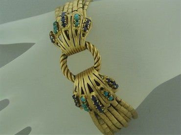 thumbnail image of Estate 1950 60s Vintage 18K Yellow Gold Turquoise Sapphire Bracelet