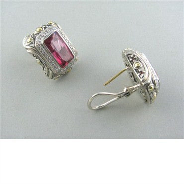 image of John Hardy Sterling 18k Gold Gemstone Diamond Earrings