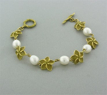 image of Tiffany & Co 18k Yellow Gold Pearl Flower Bracelet