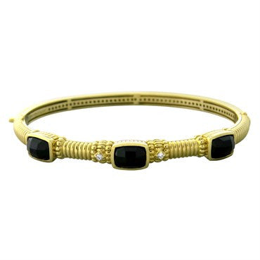 image of Judith Ripka 14K Gold Onyx Diamond Bangle Bracelet