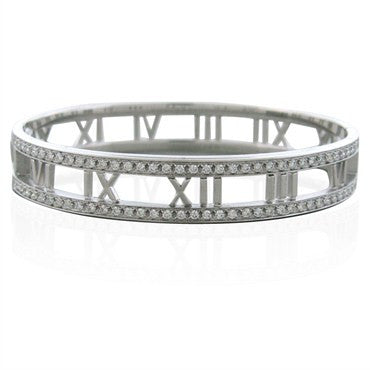 image of Tiffany & Co Atlas Collection 18k White Gold Diamond Bangle Bracelet