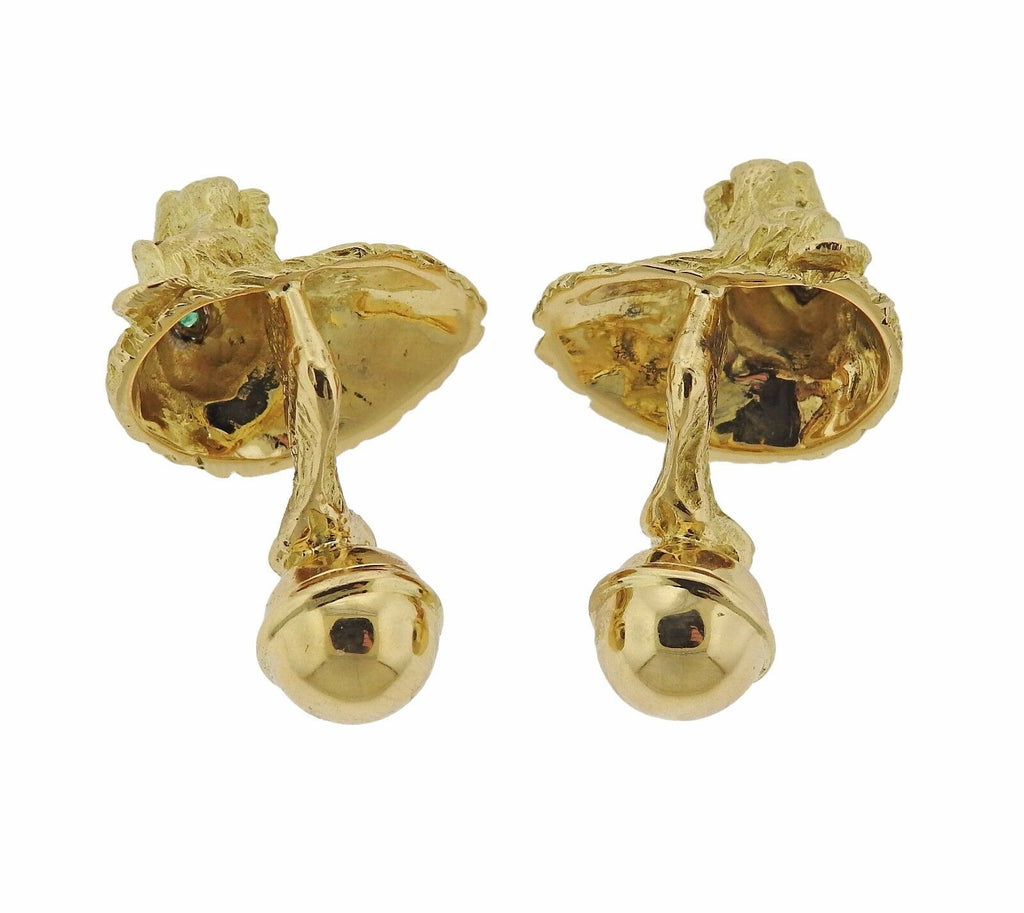 thumbnail image of Tiffany & Co 18k Gold Emerald Lion Head Cufflinks