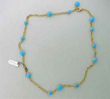 thumbnail image of New Pomellato Capri 18k Gold Turquoise Quartz Long Necklace 24