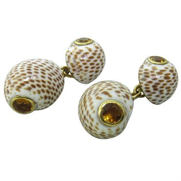 thumbnail image of Trianon Shell Citrine Gold Cufflinks