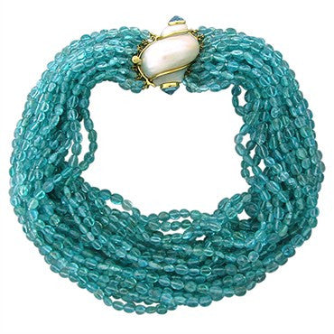 image of Seaman Schepps 18K Gold Seashell Aquamarine Multi Strand Necklace