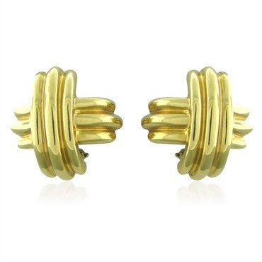 image of Estate Tiffany & Co 18K Yellow Gold Signature Earrings