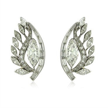 image of Circa 1950s Vintage Platinum 4.96ctw Diamond Earrings EGL Certified