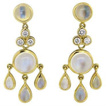 image of New Temple St. Clair Fringe Moonstone Diamond 18k Gold Drop Earrings
