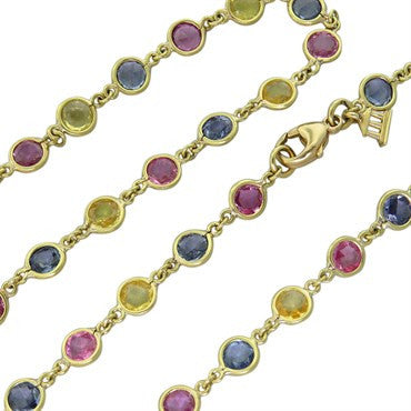 thumbnail image of Temple St. Clair Multi Color Sapphire 18K Gold Link Necklace