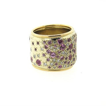 thumbnail image of Pomellato Sabbia Pink Sapphire Diamond 18k Gold Wide Band Ring