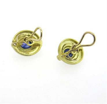 thumbnail image of Judith Ripka Gold Sapphire Cabochon Diamond Earrings