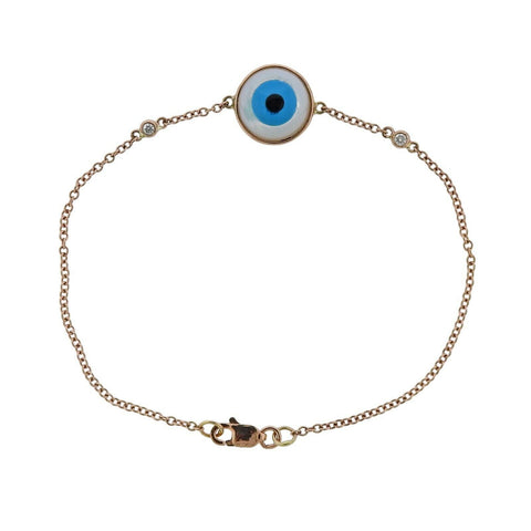 image of Gold Mother of Pearl Diamond Turquoise Onyx Evil Eye Bracelet