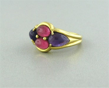 thumbnail image of Estate Mark Patterson 18K Gold Amethyst Pink Tourmaline Ring