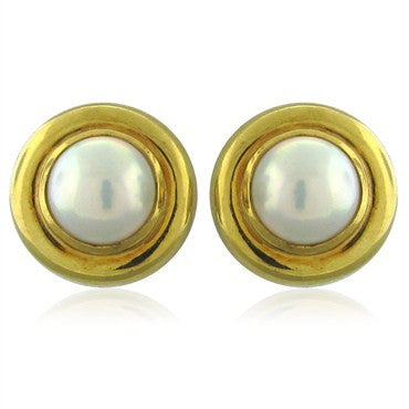 image of 1981 Vintage Tiffany & Co Paloma Picasso 18K Gold Pearl Earrings